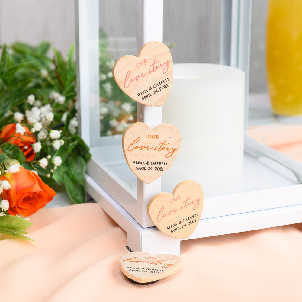 Personalized Our Love Story Heart Shaped Wooden Wedding Magnets