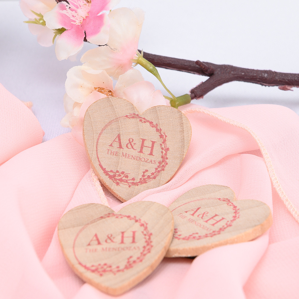 Personalized Cherry Blossom Heart Shaped Wooden Wedding Magnets