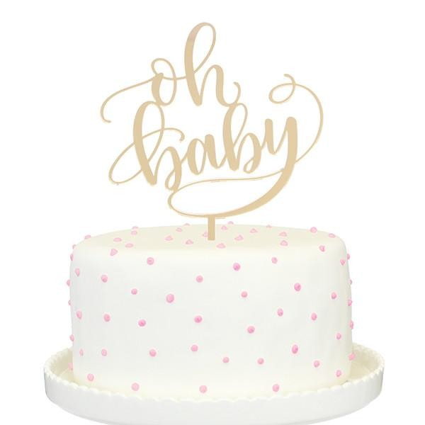Oh Baby Mirror Cake Topper