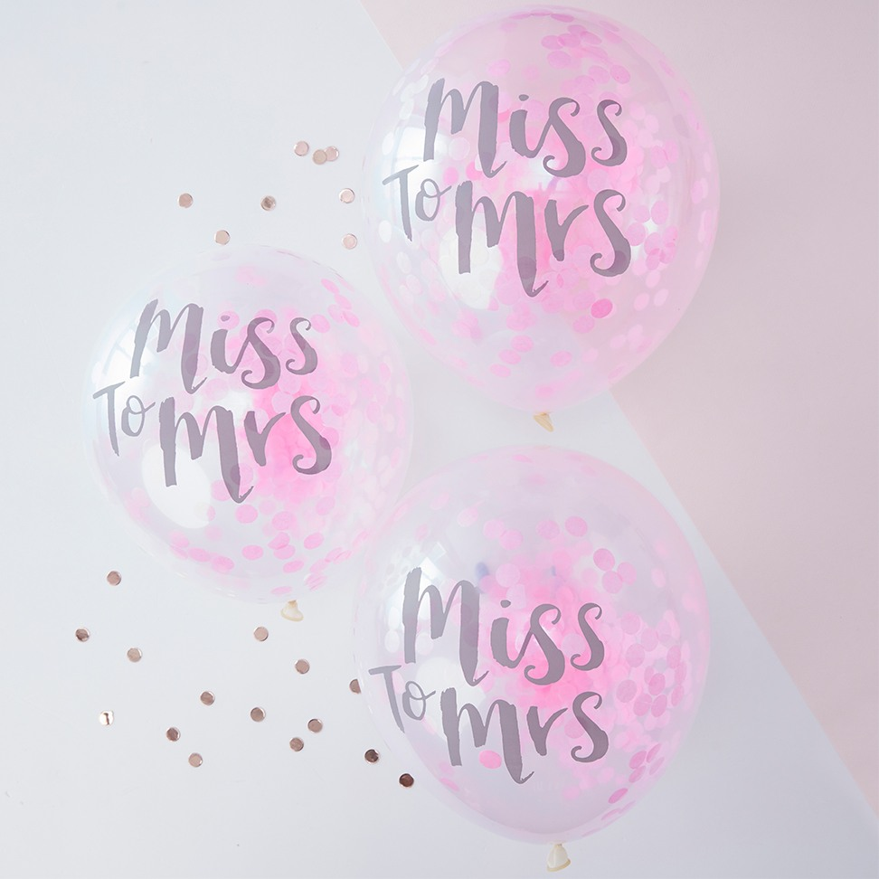 Pink Confetti Miss to Mrs Balloon