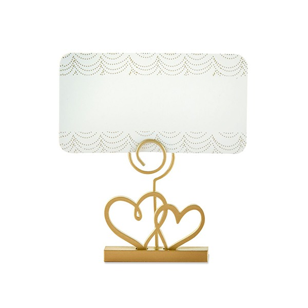 Gold Double Heart Place Card Holder
