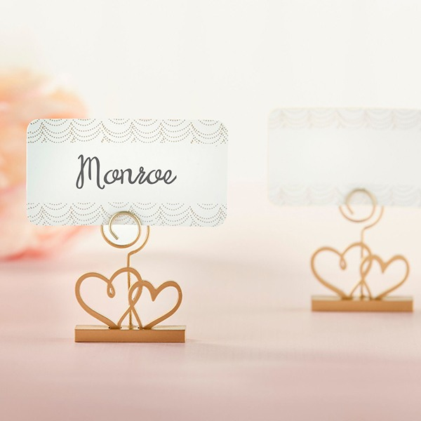 Gold Double Heart Place Card Holder 10545