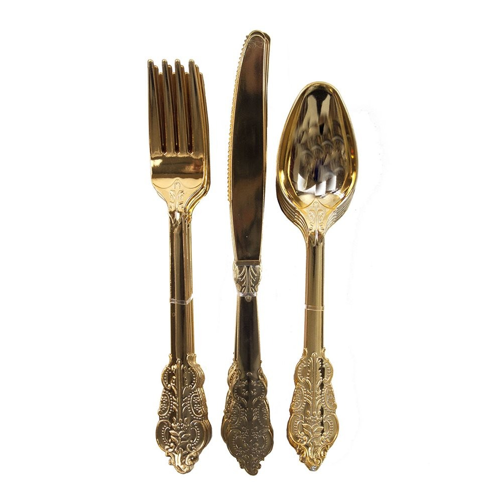 Gold Plastic Party Cutlery