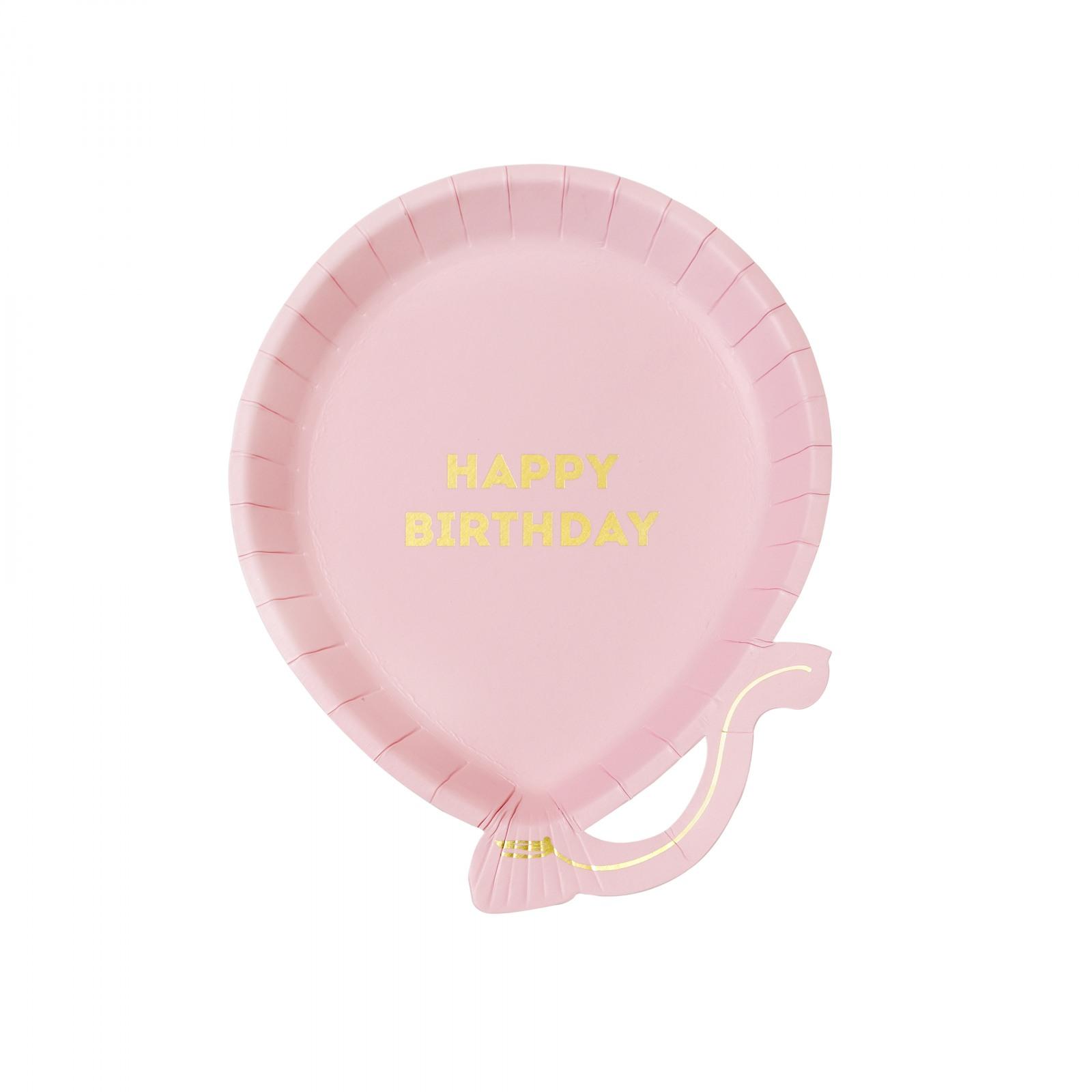 Pink Happy Birthday Balloon Shaped Plates
