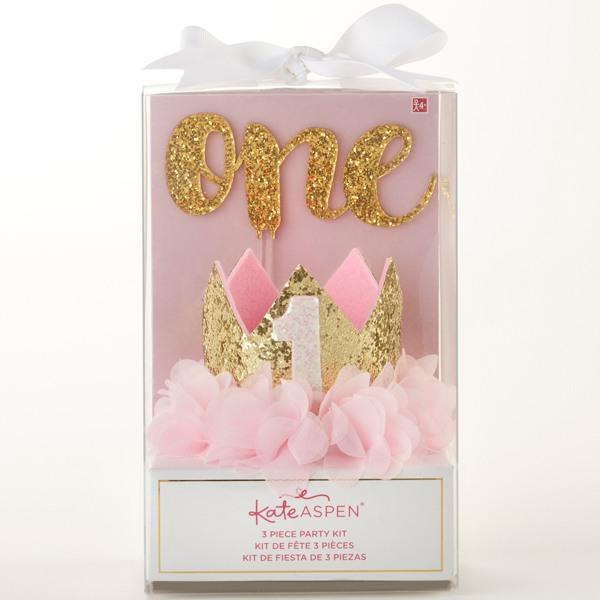 Gold Glitter 1st Birthday Decor Kit- Packaging