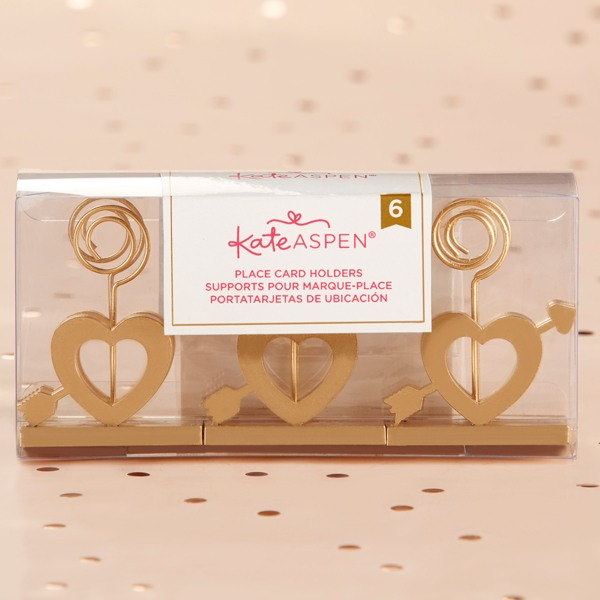 Gold Cupid's Arrow Place Card Holder - Set