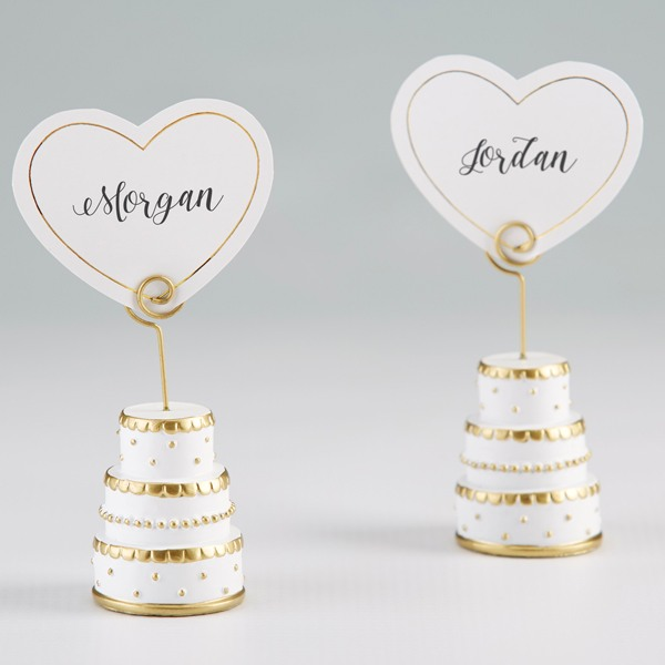 Gold Wedding Cake Place Card Holder 10694