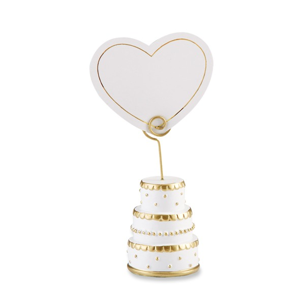 Gold Wedding Cake Place Card Holder - Blank