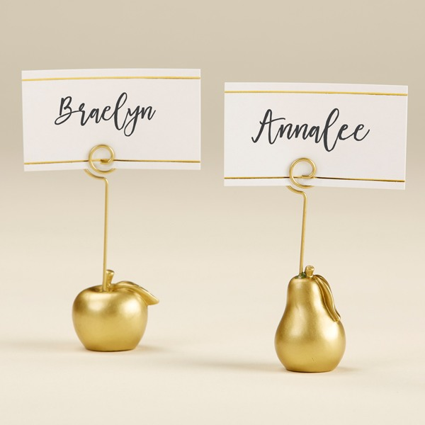 Gold Apple And Pear Place Card Holder 10695