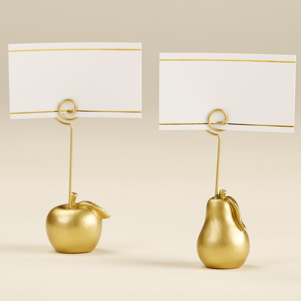 Gold Apple and Pear Place Card Holder - No Name