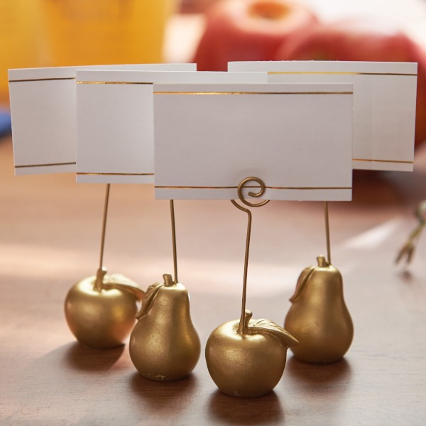 Gold Apple and Pear Place Card Holder- 4 with No Name