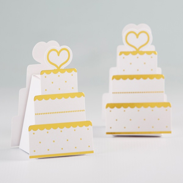 Gold Wedding Cake Favor Box 10699