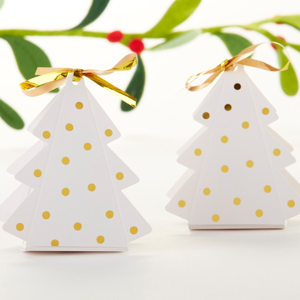 Gold Dotted Christmas Tree Favor Box 10701