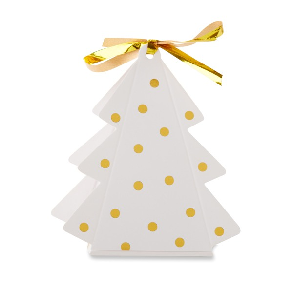 Gold Dotted Christmas Tree Favor Box - One Tree Box