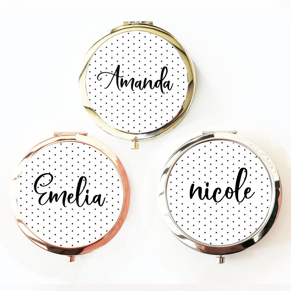 Personalized Polka Dot Compact Mirrors 10752