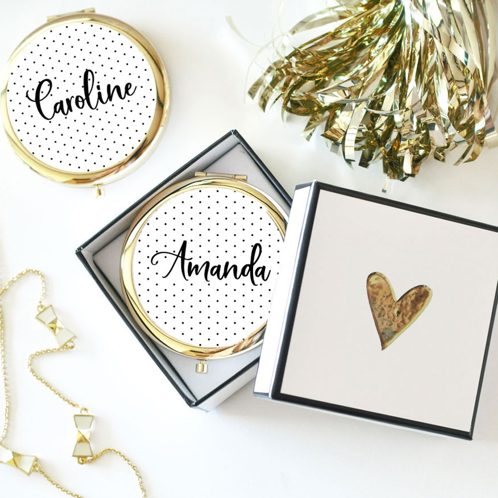 Personalized Polka Dot Compact Mirrors