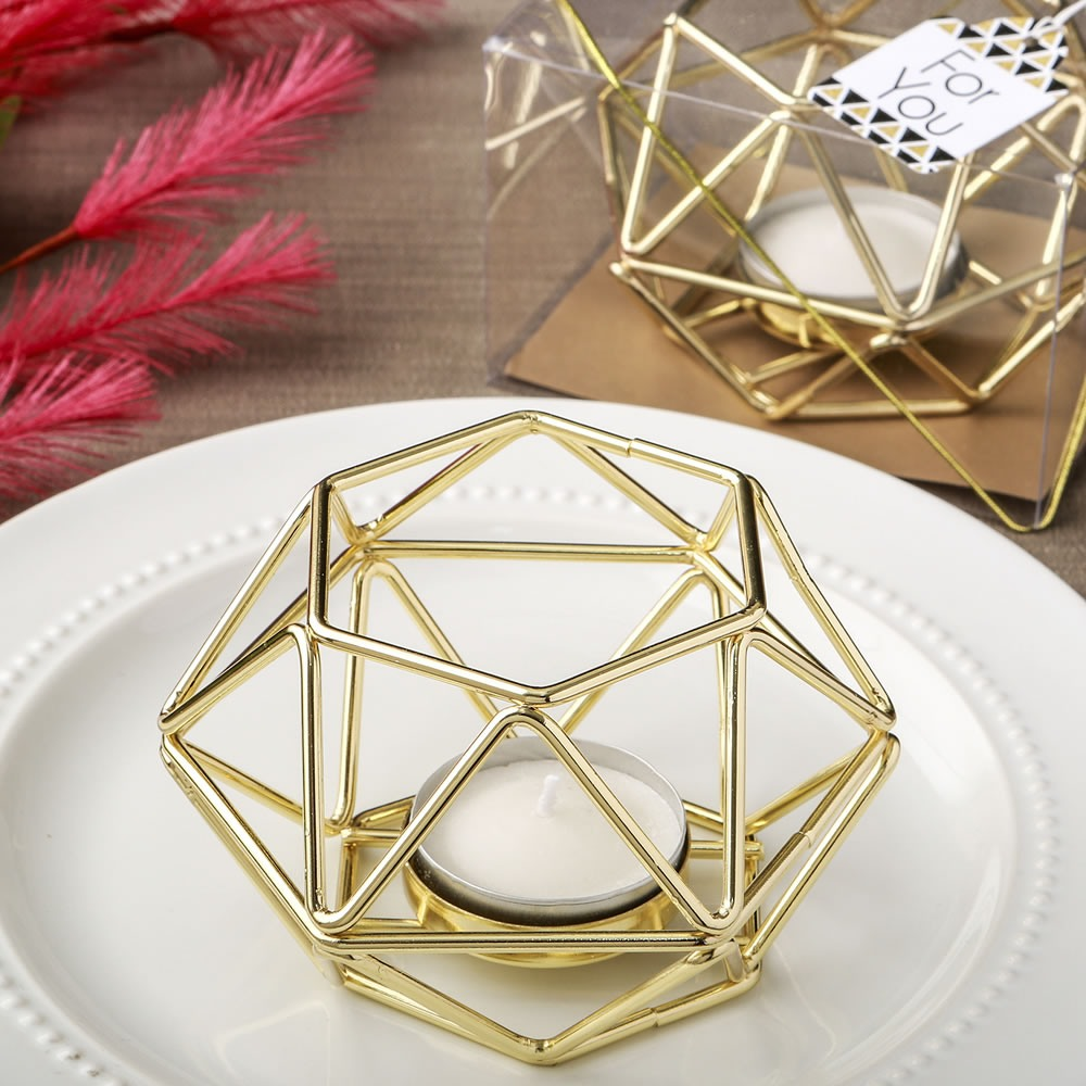 Gold Hexagon Metal Votive Holder 10796