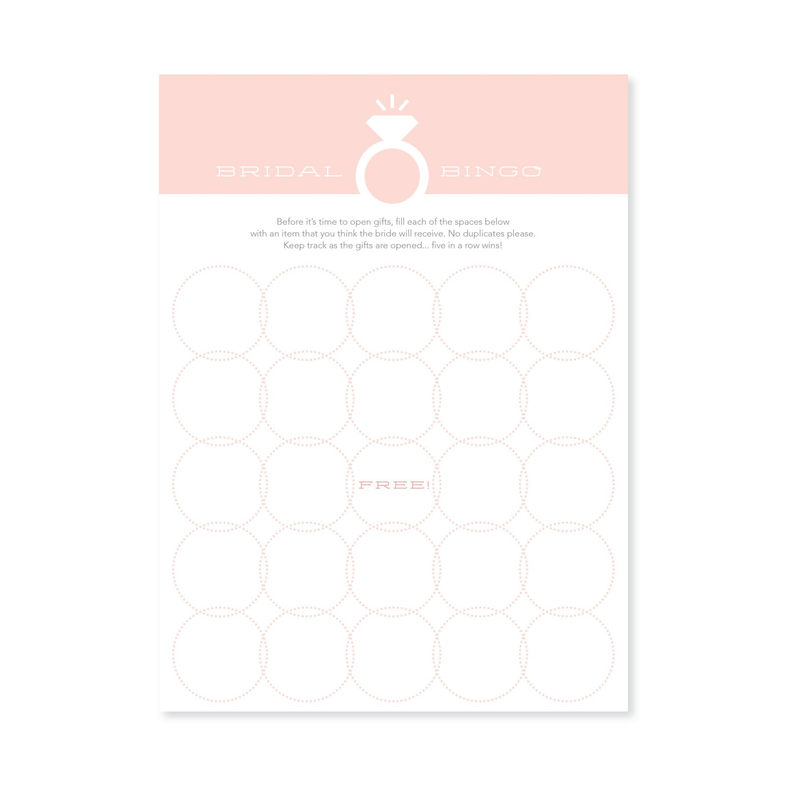 Bridal Bingo Games 10842
