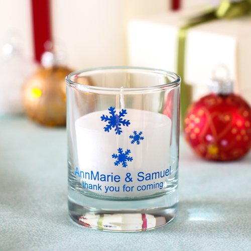 Personalized Winter Wedding Votive Candle Holder