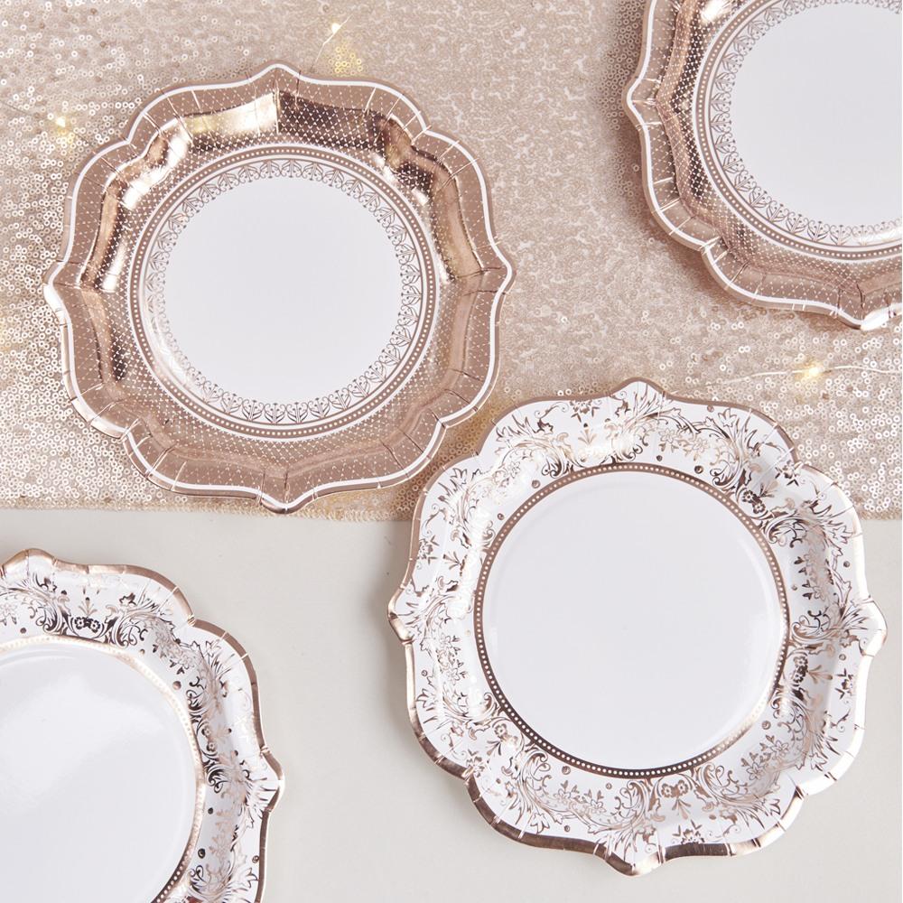 Rose Gold Porcelain Paper Plates 10856