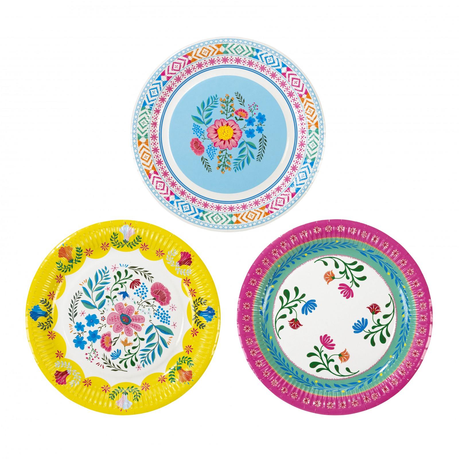 Boho Floral Paper Plates 10886