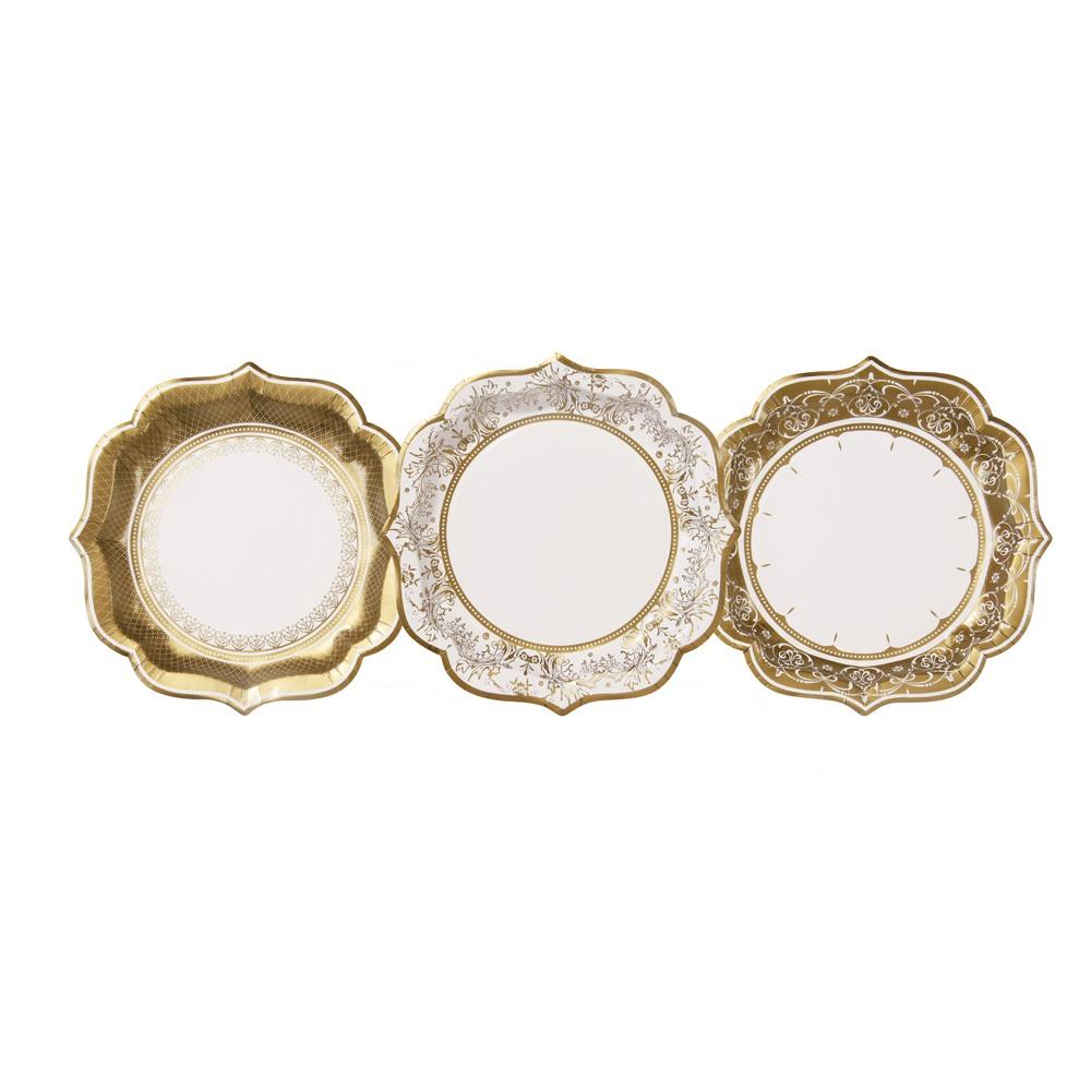 Gold Pattern Porcelain Medium Plates 10904