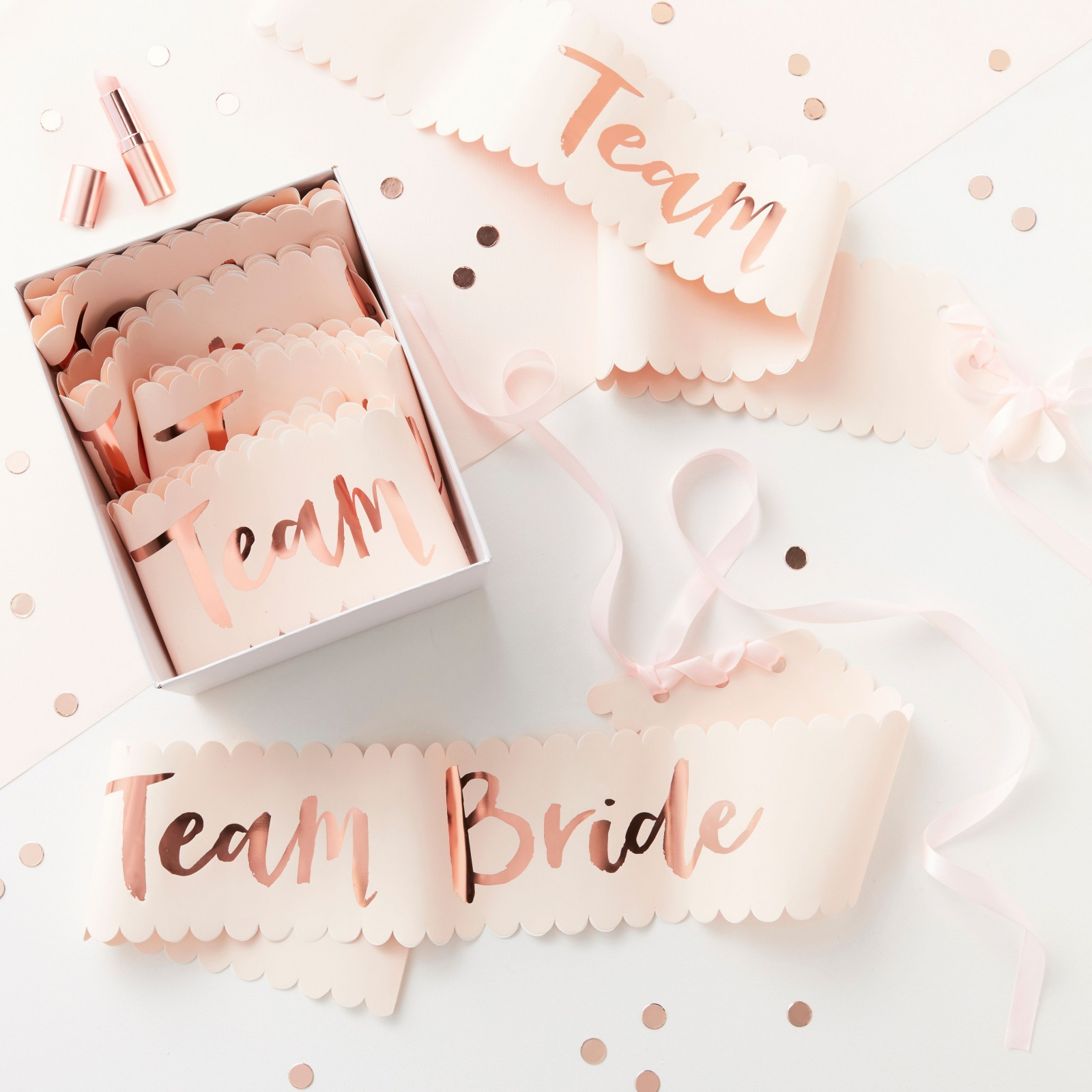 Rose Gold Foiled Team Bride Sashes 10940