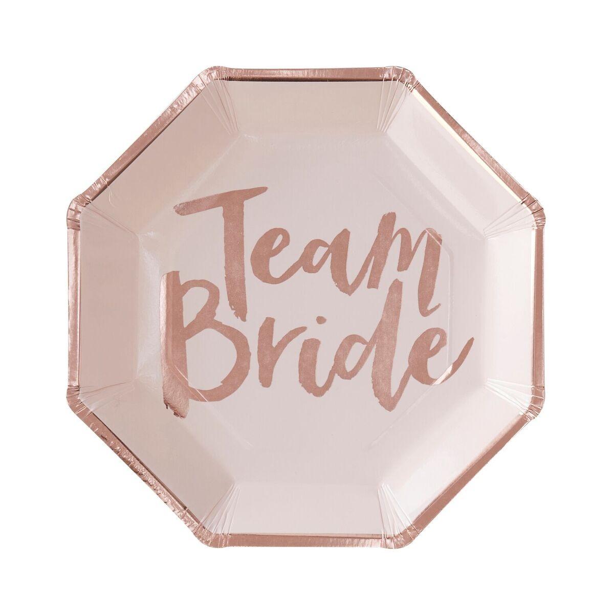 Rose Gold Foiled Team Bride Paper Plates 10941
