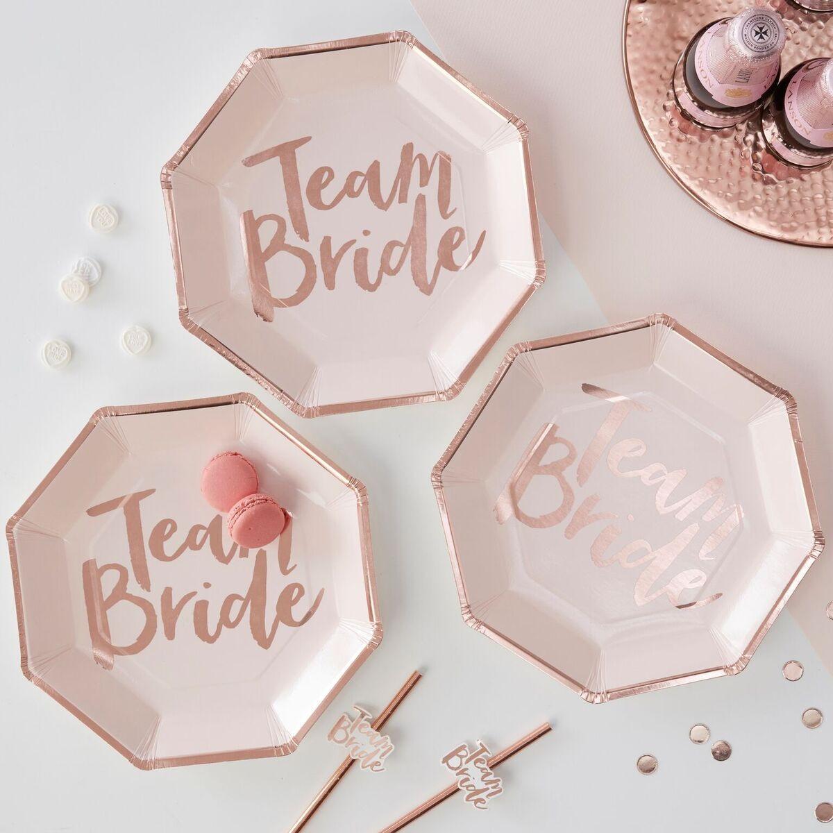 Rose Gold Foiled Team Bride Paper Plates