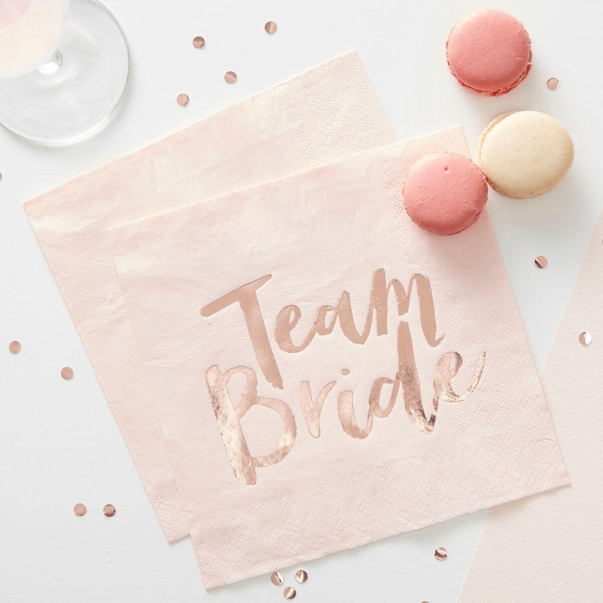 Team Bride Rose Gold Napkins 10944
