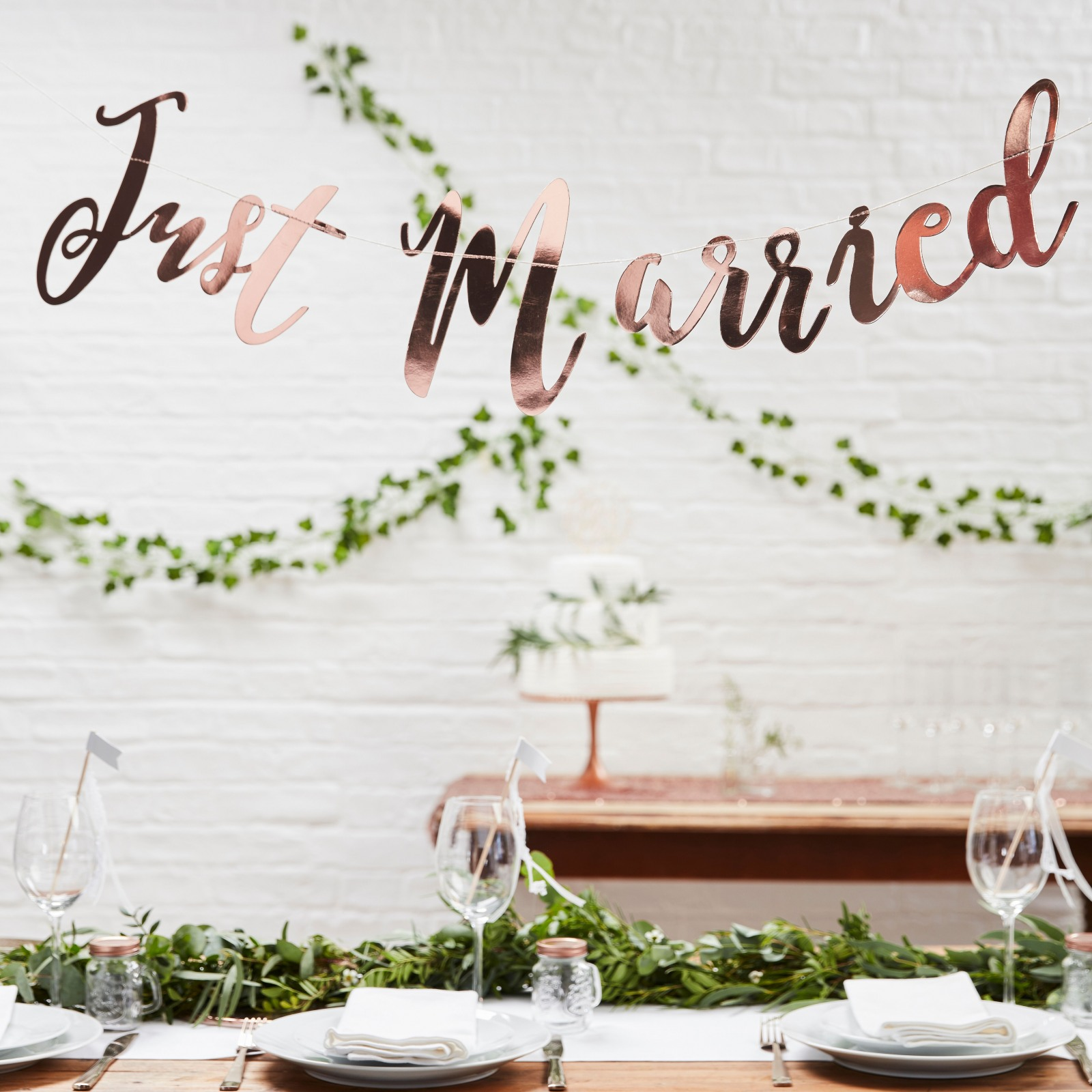 Just Married Rose Gold Banner 10961
