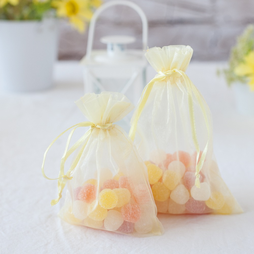Sheer Yellow Organza Favor Bags