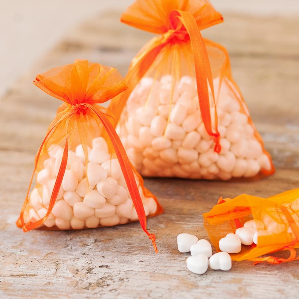 Sheer Organza Favor Bags in Orange