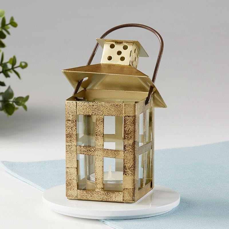 Distressed Small Lantern - Gold