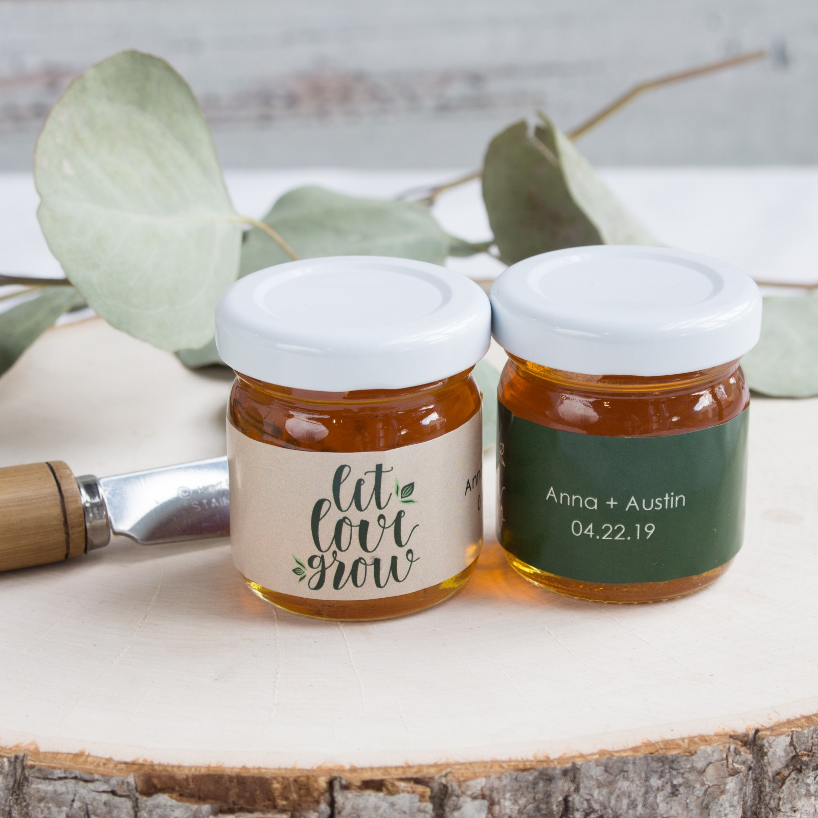 Personalized Let Love Grow Honey Jars