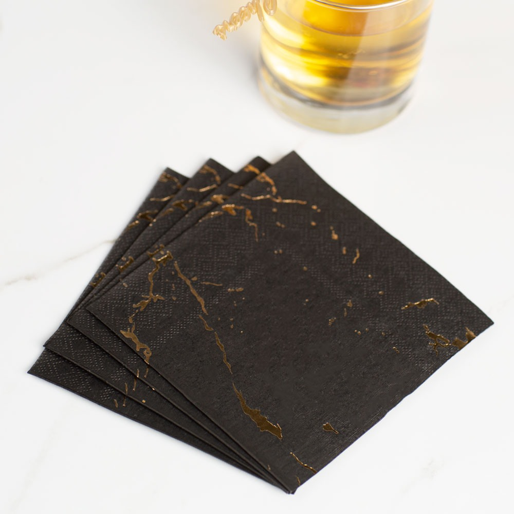 Black Marble Cocktail Paper Napkin