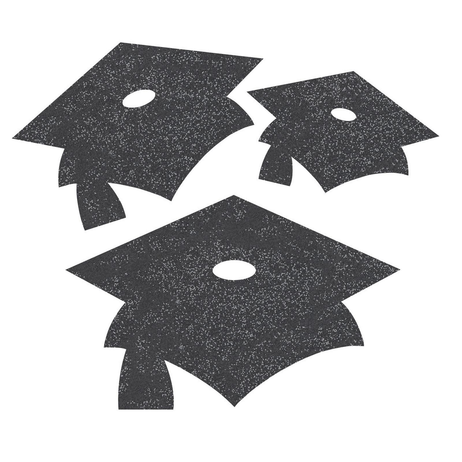 Assorted Black Graduation Hat Large Confetti
