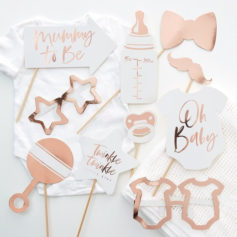 Rose Gold Baby Shower Photo Booth Props 11255