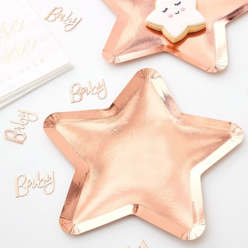 Rose Gold Star Shaped Paper Plates 11257