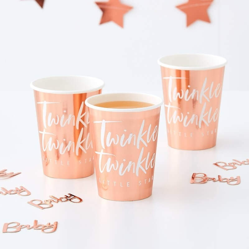 Rose Gold Twinkle Paper Cups 11258