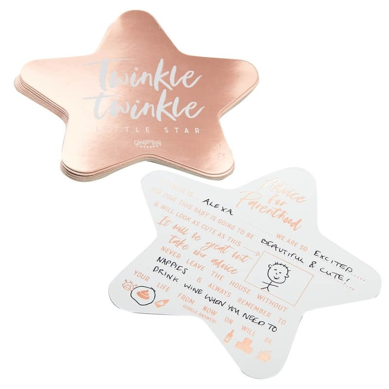 Rose Gold Foiled Baby Shower Advice Cards 2