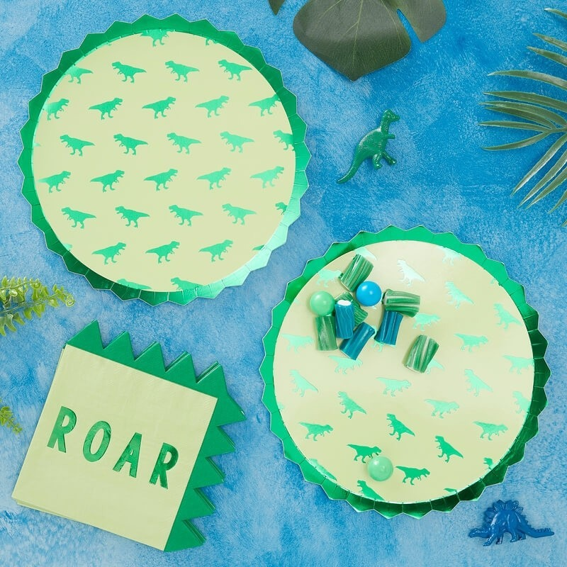 Foiled Dinosaur Paper Plates 11265