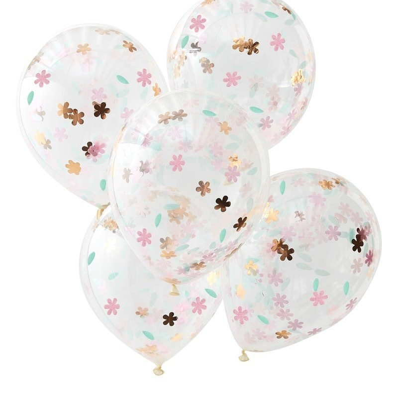 Floral Confetti Filled Balloons