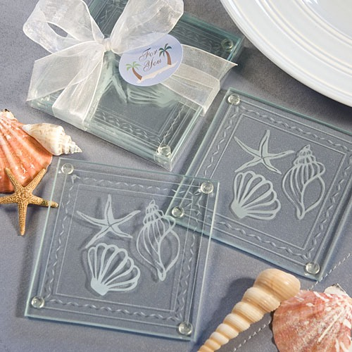 Seashell Glass Coaster Favors 11274