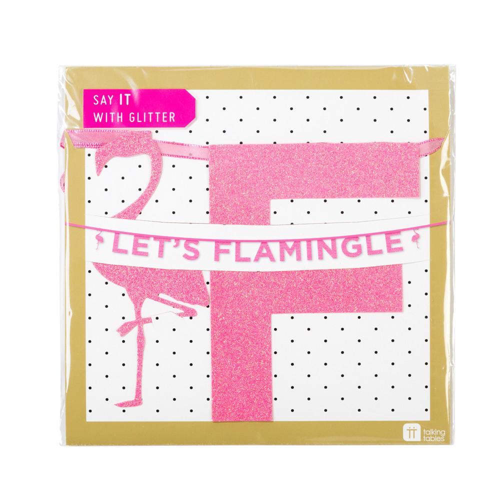 Let's Flamingle Glitter Banner packaging