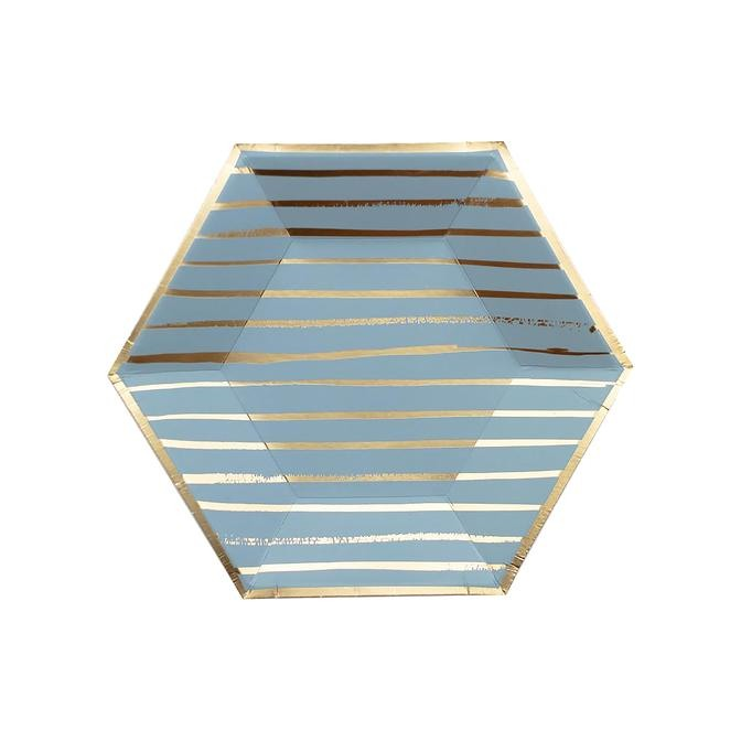 Blue Striped Small Paper Plates 11288