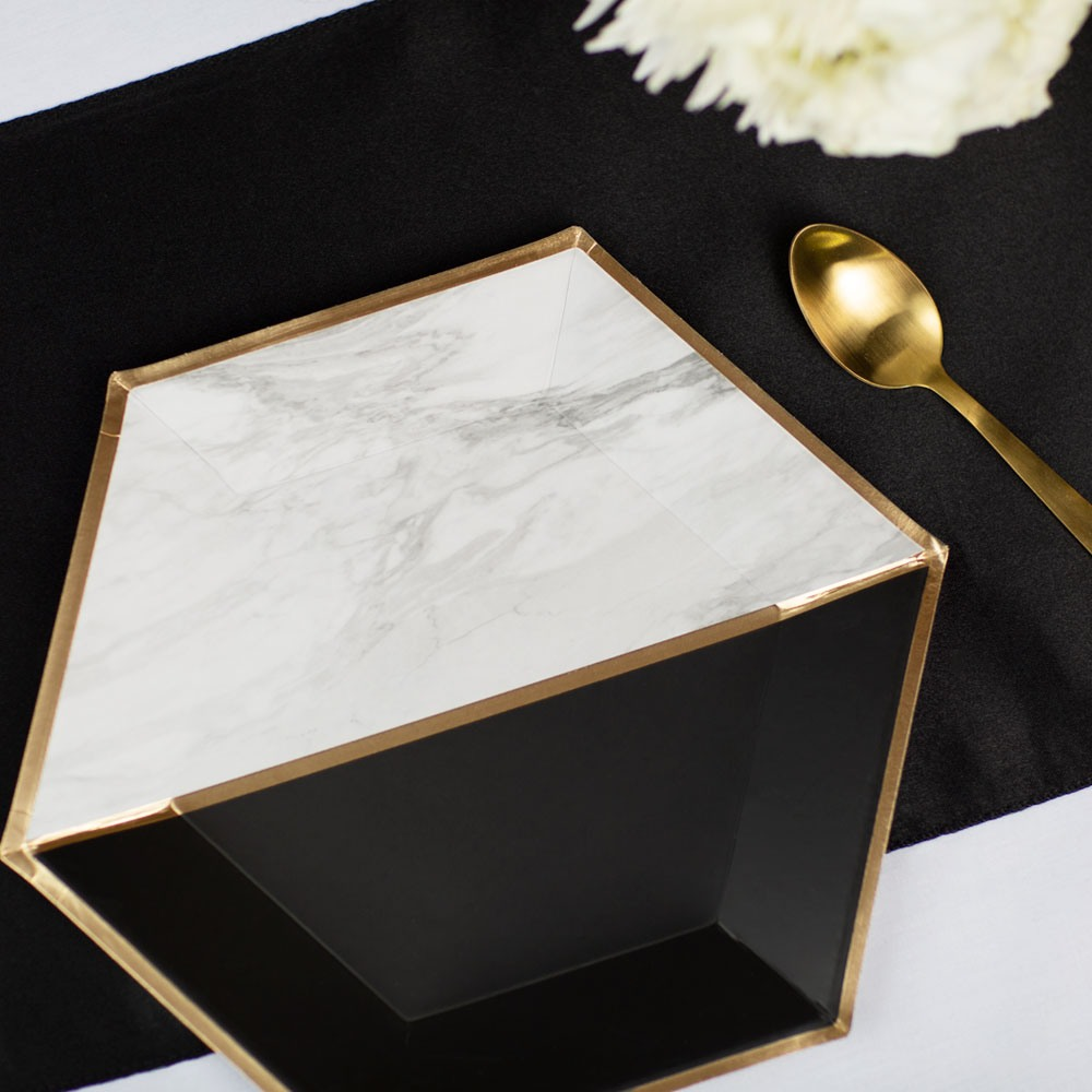 Marble Colorblock Large Paper Plates 11291