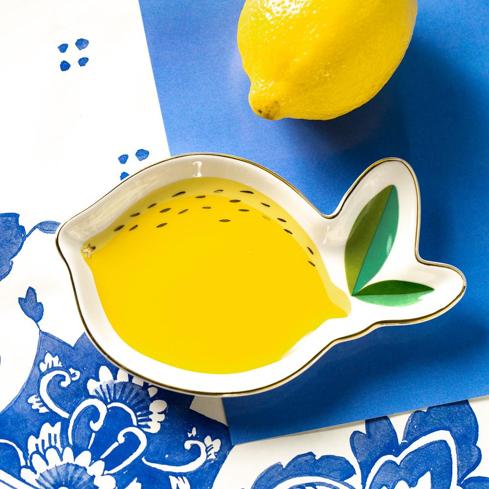 Lemon Shaped Ceramic Trinket Tray 11307