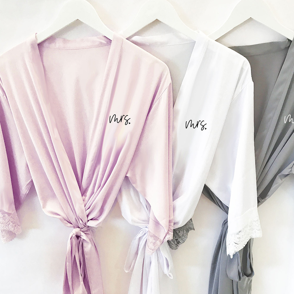 Mrs Satin Lace Robes