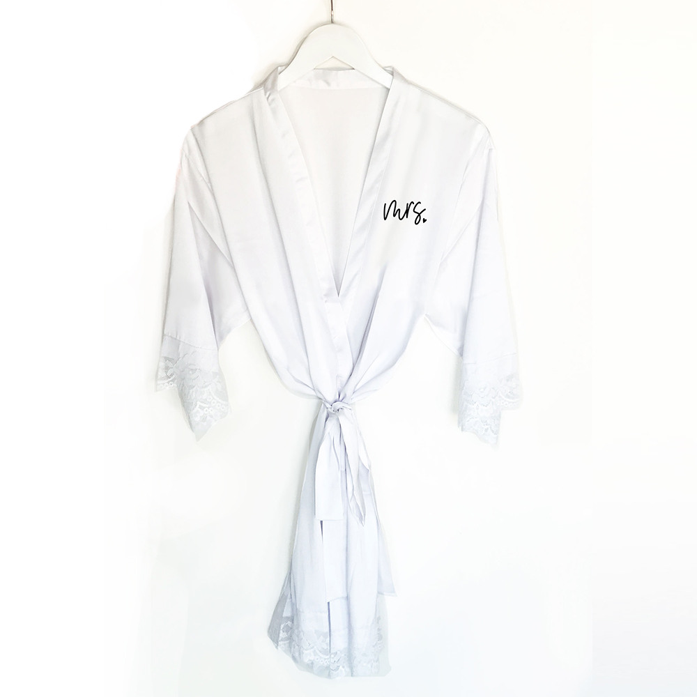 Bridal Satin Lace Robes white